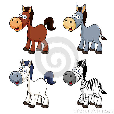 Cartoon horse set