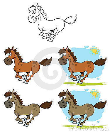 Cartoon horses running- collection