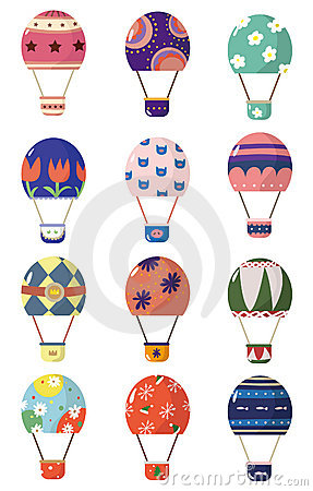 Cartoon hot air balloons