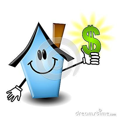 Cartoon House Holding Money