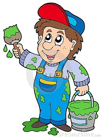 Cartoon house painter