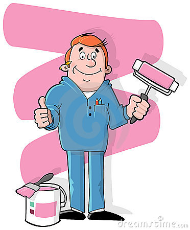 Cartoon house painter