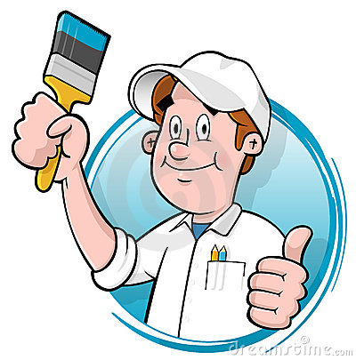 Cartoon house painter logo