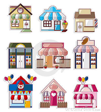 Cartoon house / shop icons collection