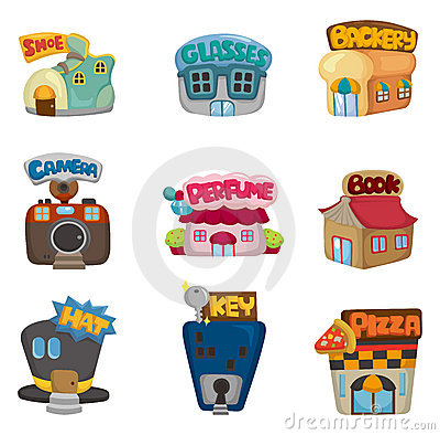 Cartoon house / shop icons collection