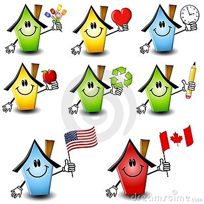 Free Cartoon Houses Holding Objects 2 Royalty Free Stock Image - 4758416