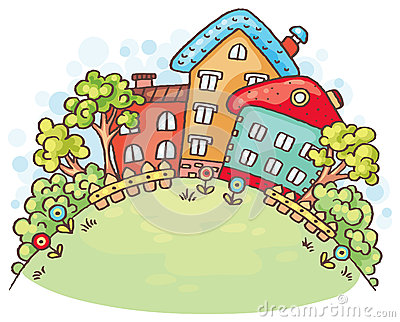 Cartoon houses and trees on a hill with a copy space Vector Illustration