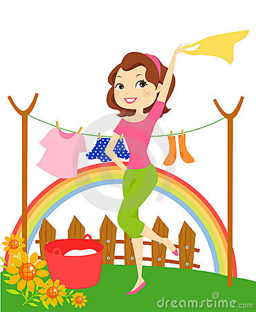 Cartoon Of Housewife Hanging Clothes Stock Images Image