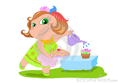 Cartoon housewife - vector illustration