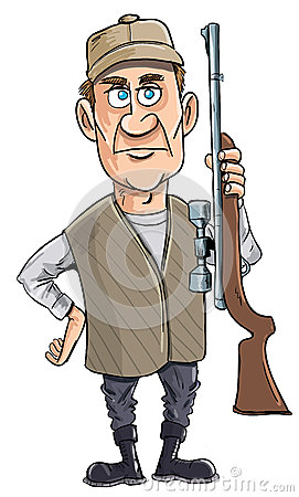 Cartoon hunter holding his gun