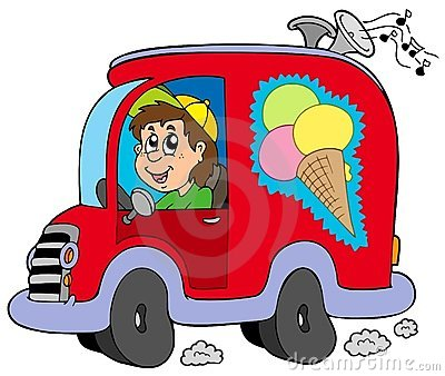 Cartoon ice cream man in car