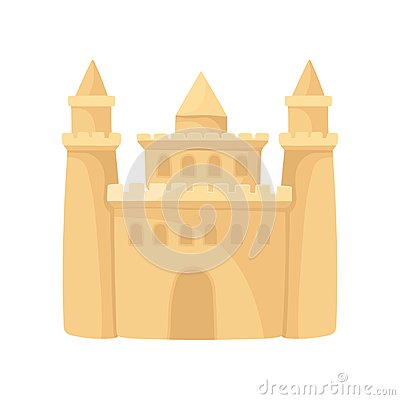 Free Cartoon Icon Of Big Sandcastle With Three Towers. Beach Holiday. Flat Vector Element For Advertising Poster Of Tourist Royalty Free Stock Image - 125207406