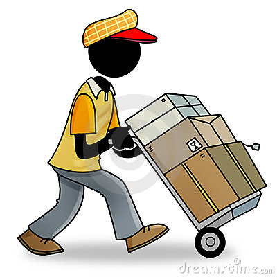 Cartoon icon of people at work - delivery man