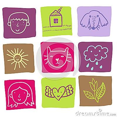 Cartoon icons - cute set