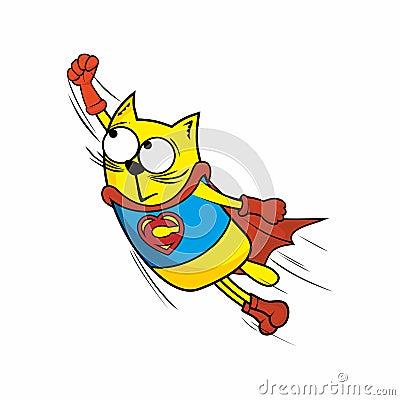 Free Cartoon Illustration. Amazing Hero Cat. Royalty Free Stock Photos - 122543738