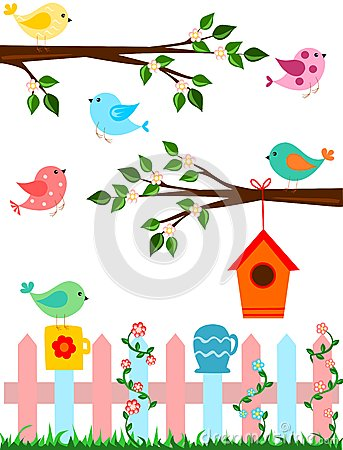 Cartoon illustration of birds