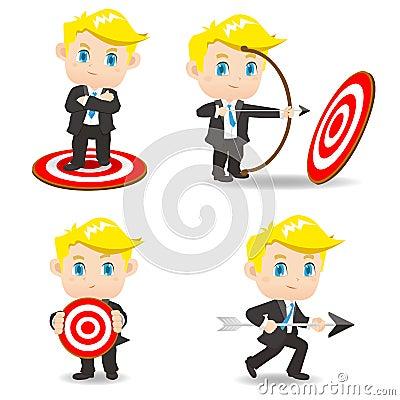 Free Cartoon Illustration Businessman Archery Target Royalty Free Stock Images - 58713199