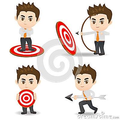 Free Cartoon Illustration Businessman Archery Target Stock Photo - 62200920