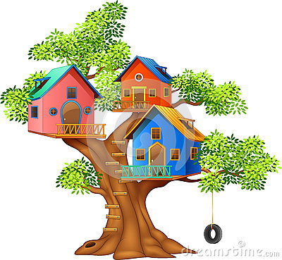 Cartoon illustration of a colorful tree house stock vector for Colorful tree house