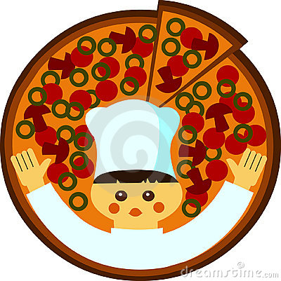 Cartoon illustration of a cook with a pizza
