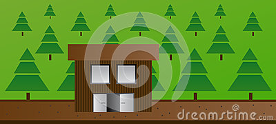 Cartoon illustration of cottage or cabin in the forest