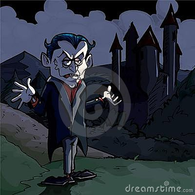 Cartoon illustration of Dracula and castle