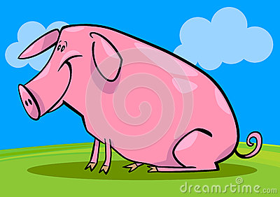 Cartoon illustration of farm pig