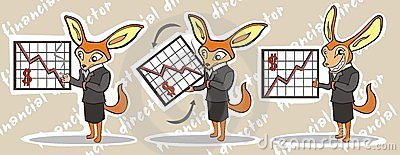 Cartoon illustration of financial director
