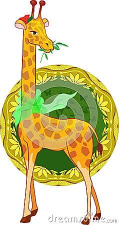 Cartoon illustration giraffe with scarf