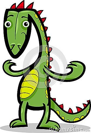 Cartoon illustration of lizard or dinosaur