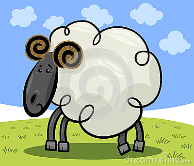 Cartoon illustration of ram or sheep