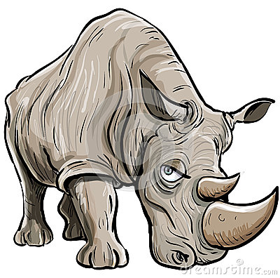 Cartoon illustration of a rhino