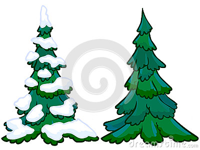 The cartoon illustration of a spruce tree