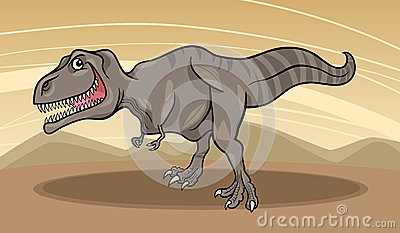 Cartoon illustration of tyrannosaurus dinosaur