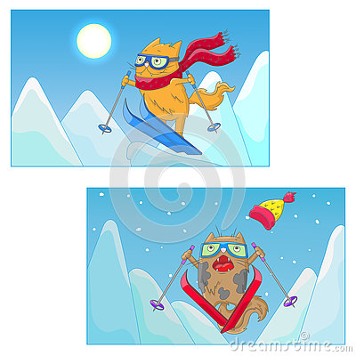 Free Cartoon Illustration With Funny Cats-skiers On The Background Of Mountain Landscape Stock Photo - 79776260