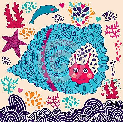 Free Cartoon Illustration With Snail Stock Photos - 29181563