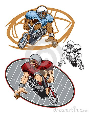 Free Cartoon Illustrations Of Football Players Running With Balls Royalty Free Stock Image - 130138256