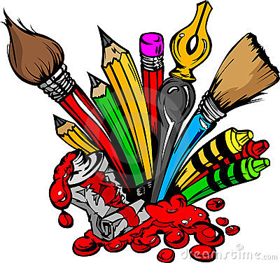 Cartoon Image of Art Supplies
