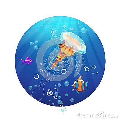 Cartoon image of a jellyfish and sea fish