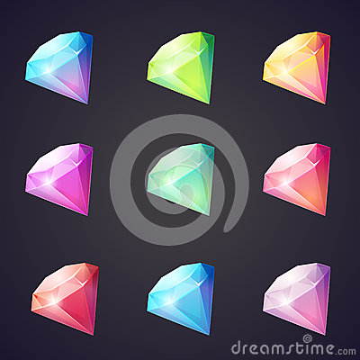 Free Cartoon Image Of Gems And Diamonds Of Different Colors On A Black Background For Computer Games. Stock Images - 45475704