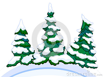 Cartoon image of three conifers on white-blue snowdrifts.