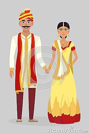 Cartoon Indian wedding couple Vector Illustration