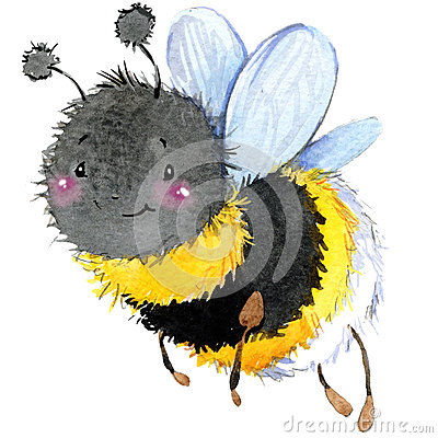 Free Cartoon Insect Bumblebee Watercolor Illustration. Royalty Free Stock Photos - 56206058