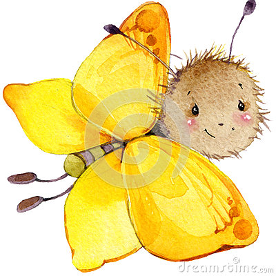 Free Cartoon Insect Butterfly Watercolor Illustration. Stock Image - 56222171