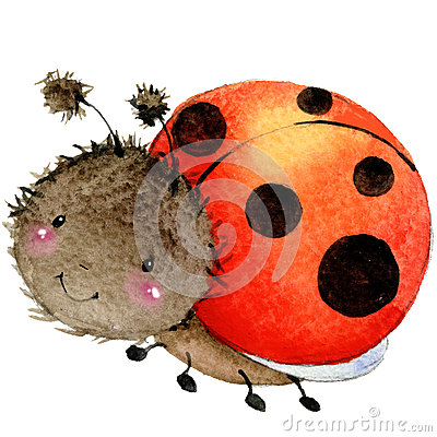 Free Cartoon Insect Ladybug Watercolor Illustration. Stock Image - 56222071