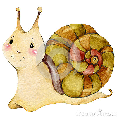 Free Cartoon Insect Snail Watercolor Illustration. Royalty Free Stock Images - 56222219
