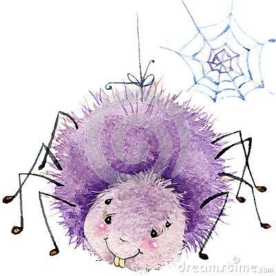 Free Cartoon Insect Spider Watercolor Illustration. On White Background. Royalty Free Stock Photos - 56203408