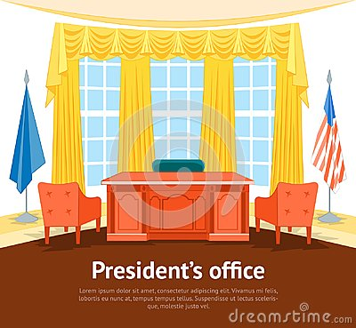 Free Cartoon Interior President Government Office Card Poster With Furniture. Vector Royalty Free Stock Photo - 102889365