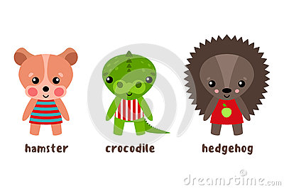 Cartoon isolated wood animals in cloth Vector Illustration