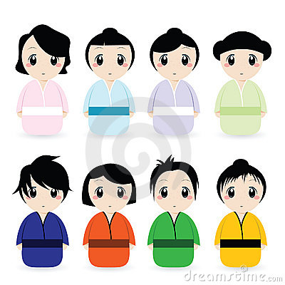 Cartoon Japanese Women Set